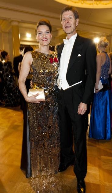 Mari Kiviniemi ja puoliso Linnan juhlissa 2012.