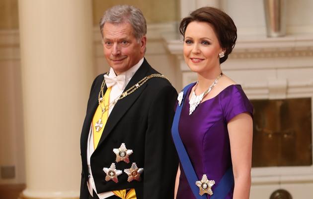 Presidentti Sauli Niinistö ja Jenni Haukio Linna juhlissa 2016.