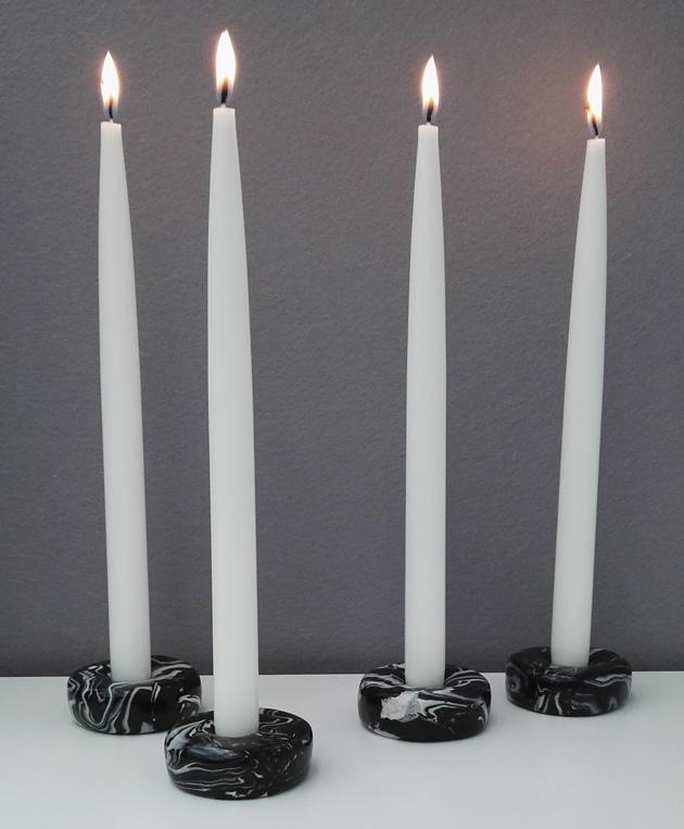 marmorikuvioiset diy-kynttilänjalat polyymerimassasta