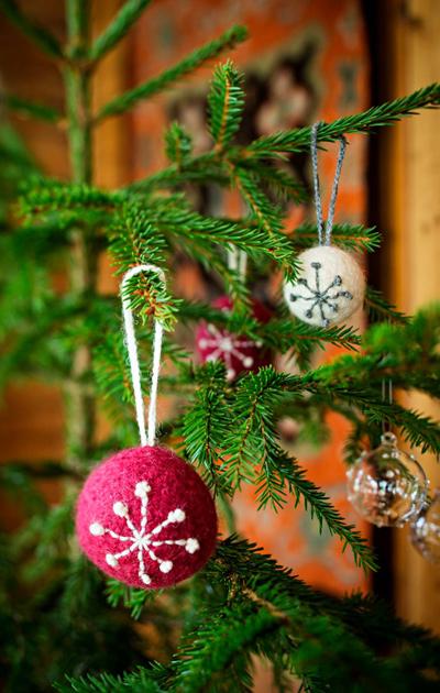 Huopapallot koristaa joulukuusen