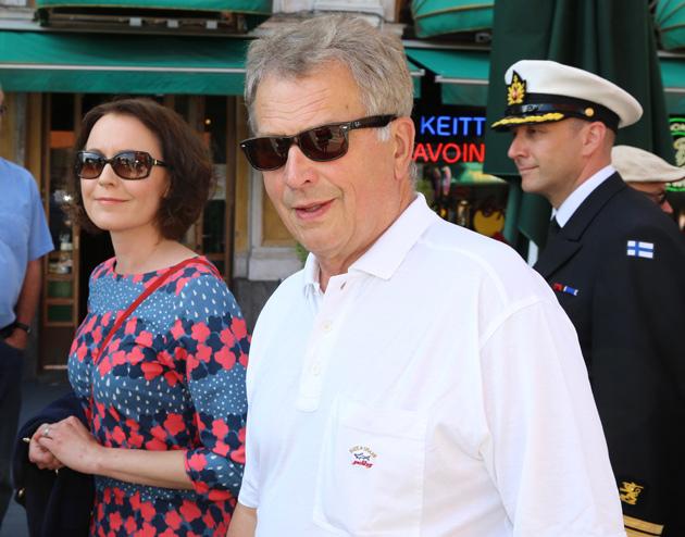 Tasavallan presidentti Sauli Niinistö ja rouva Jenni Haukio Porissa heinäkuussa 2017.