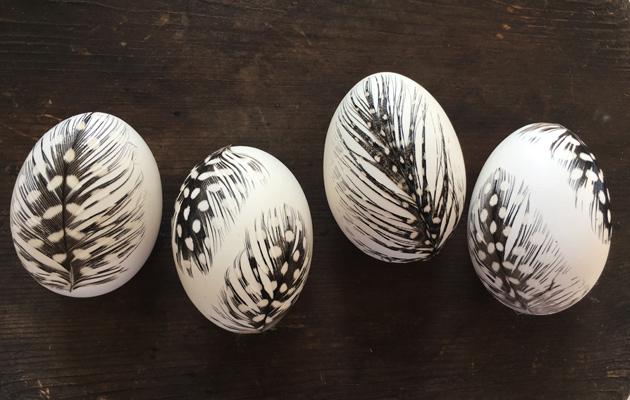 Koristele kananmunat höyhenillä niin saat pääsiäiseksi kauniita pääsiäismunia.