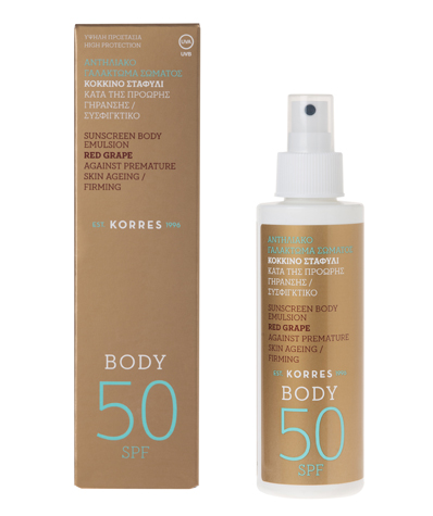 Hyvä aurinkovoide oli Korres Red Grape Body SPF50 aurinkovoide