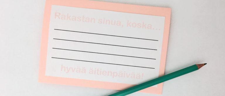 Askartele pienille lapsille sopiva äitienpäiväkortti helposti Kotilieden ohjeella.