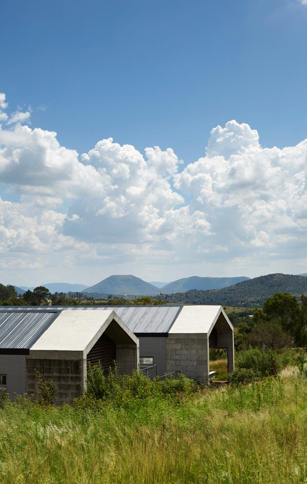 Savannin keskelle rakennettu 600 neliön koti koostuu kahdesta vierekkäisestä rakennuksesta.