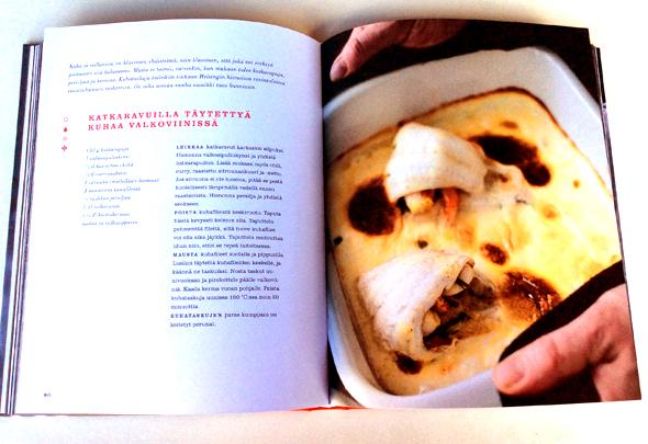 Katkaravuilla täytettyä kuhaa valkoviinissä -resepti Alénin kirjassa