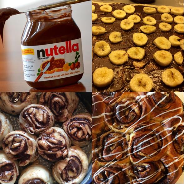 Nutella-banaaniboston syntyy levittämällä Nutellaa ja banaaniviipaleita pullalevyn päälle